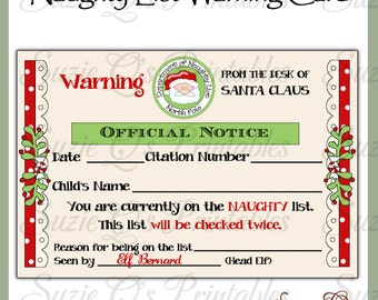 Santa's Naughty List Warning Card - US and International Sizes - Digital Printable - Immediate Download