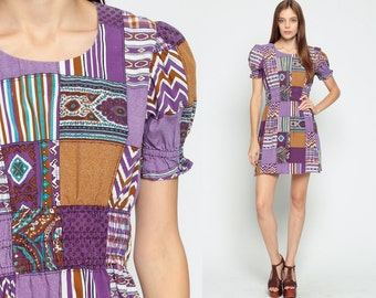 1970s Mini Dress PATCHWORK Print Bohemian Babydoll 60s 70s Boho PUFF SLEEVE Festival Vintage Purple Empire Waist Smock Cotton Medium Large