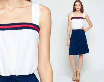 Boho Mini Dress 70s Sun Dress Striped High Waisted BOW Sundress Print Red White Blue 1970s Vintage Summer Stripe Navy Tennis Large XL