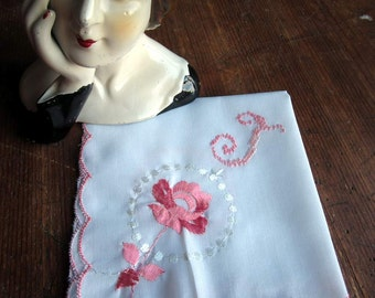 "Vintage White Hanky/Handkerchief, Pink Scalloped Edge, ""T"" Monogram in Pink,  Embroidered  Rose Focal Corner"