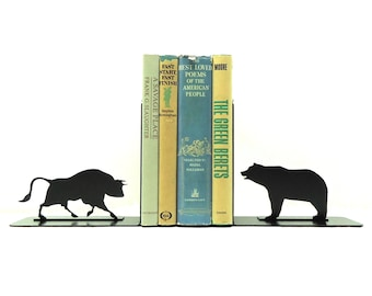 Bull and Bear Metal Art Bookends - Free USA Shipping