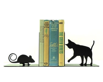 Cat and Mouse Metal Art Bookends - Free USA Shipping