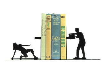 Chainsaw Attack Metal Art Bookends - Free USA Shipping