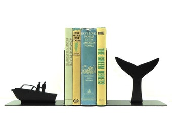 Whale Tail Metal Art Bookends - Free USA Shipping