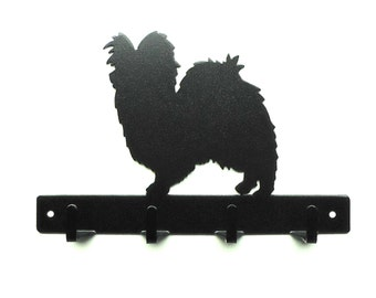 Papillon Metal Art Leash or Key Rack - Free USA Shipping