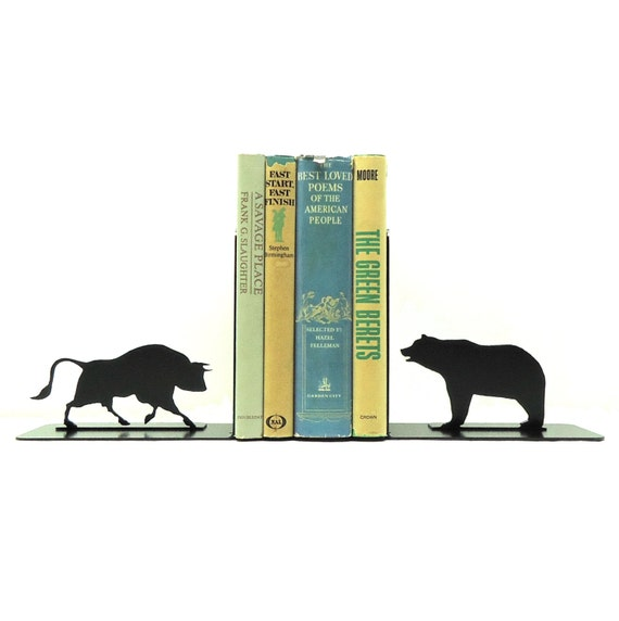 Bull And Bear Metal Art Bookends Free Usa Shipping