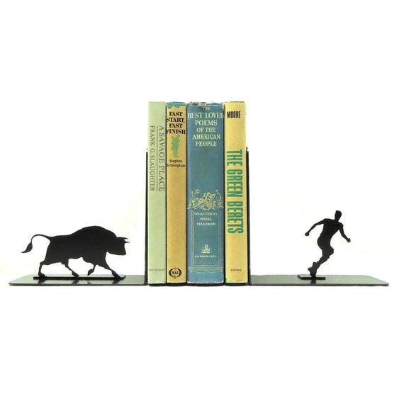 Bull Attack Metal Art Bookends - Free USA Shipping