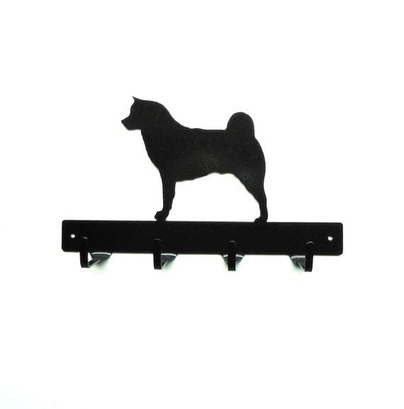 Akita Dog Metal Art Leash or Key Rack - Free USA Shipping