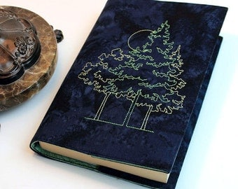 Paperback Book Cover - Embroidered Trees on Navy Blue Cotton Batik Fabric - Trade Size