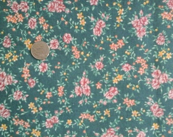 Pink Peach Yellow & Dark Sage Green Floral Print 100% Cotton Fabric 1 yd