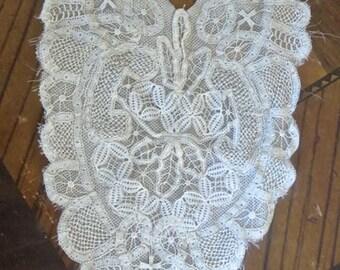 Antique 1900s Renaissance Point Lace Dress Frontpiece Collar Ornate Art Nouveau Pattern