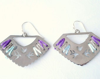 Silver Handcut Cross Stitch Earrings with Short Wire