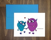 valentines day card / best friends forever / bff / cute friendship greeting / great way to say hi / friendship / blank inside / girlfriend