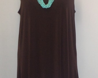 Plus Size Tank Top, Coco and Juan Lagenlook, Chocolate Brown Traveler Knit Angled Tank Top Size 1 Fits 1X,2X Bust  to 50 inches