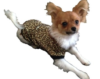 Velour Leopard Print Dog Shirt - 4 Sizes Available - Guaranteed to fit - Love it or send it back :o)