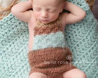 Romper Newborn Boy Photo Prop Baby Shower Gift Hand Knit Bodysuit Mohair Shorts Bib Overalls Going Home Outfit Infant Girl Coming Home Pants