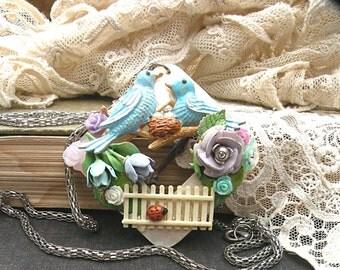 collage necklace bluebird assemblage flower bird pendant
