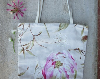 Tulip leather tote, leather canvas tote bag, whimsy tote purse, work bag, spring tote, gift for girl tulip tote bag, spring trends, mother