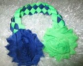 Custom Ballerina Dance Bun Wrap, Braided Ribbon, Shabby Flower Bun Wrap, Royal Blue and Lime Green Bun Wrap