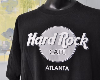 Vintage Hard Rock Cafe Tshirt Atlanta Georgia GA Black White Gray 90s Music Shirt XXL