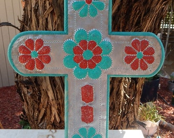 Turquoise and Red Tin Punch and Wood Cross