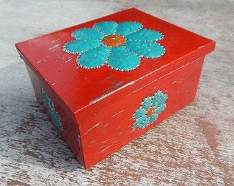 Tin Punch Trinket Box   ~  Red and Turquoise Tin Punch Rosary Box  ~  Red And Turquoise Jewelry Box  ~  Southwest Decor Tin Box