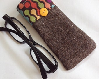 Reading Glasses Case - fall autumn brown wool , small, soft eyeglasses sleeve, readers cozy, travel accessory for purse, cheaters holder