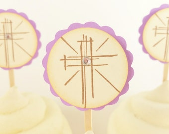 Cross Cupcake Toppers Baptism, Christening, New Baby, Baby Shower, Communion, Wedding Set of 12