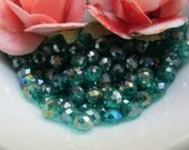 Teal Green AB Finish Faceted Glass Rondelle 3mm by 4mm 5 inches (13cm)