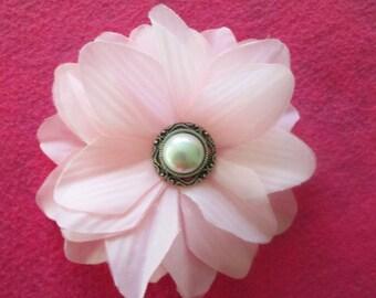 flower alligator clip, pink flower clip