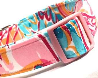 Lilly Pulitzer Fabric Dog Collar Girl Boy Multi Peel and Eat Pink Teal