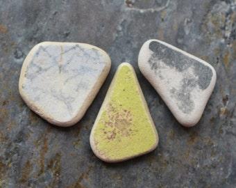 Beach Pottery Trio. Undrilled. Lot O6. Yellow, Gray