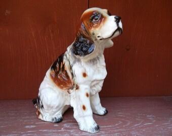 Vintage Enesco Japan Springer Spaniel Ceramic Dog Figurine