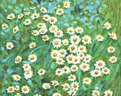 """floral painting """"Daisy Party At Flower Bed"""" hanging wall art decor for flower lover's house home room kitchen"""
