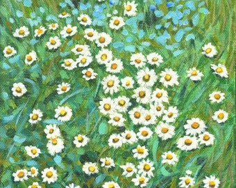 """art print floral painting """"Daisy Party At Flower Bed"""" hanging wall art decor for flower lover's house home room kitchen, A3 print A4, 8x10"""