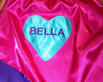 Heart Superhero Cape Personalized with Name or Initial Reversible Washable Satin