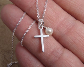 Dainty cross and pearl or birthstone necklace - Simple Sterling silver cross - Goddauther gift - Godmother gift - Photo NOT actual size