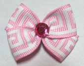 Light Pink Greek Key Design Dog Grooming Hair Bow with Hot Pink Rhinestone Center