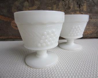 Vintage White Milk Glass Sorbet Cup Pedestal Grape Harvest Pattern