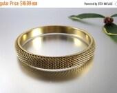Labor Day Sale Gold Mesh Bangle Bracelet Vintage - W3340