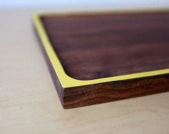 Walnut Serving tray with Yellow Color Block - dark wood tea tray