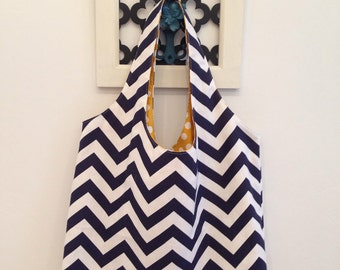 Large Canvas Tote Bag Navy and White Chevron