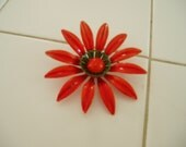 Large Orange Vintage Metal Flower Brooch
