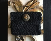 Handmade Crocheted Pouch with Vintage Brass Red Cross Button