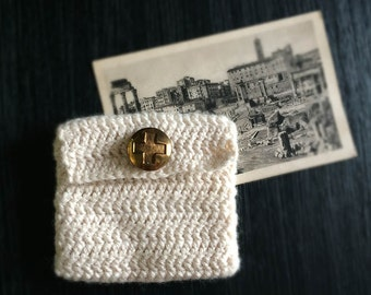 Handmade Crocheted Pouch in Ivory with Vintage Brass Red Cross Button
