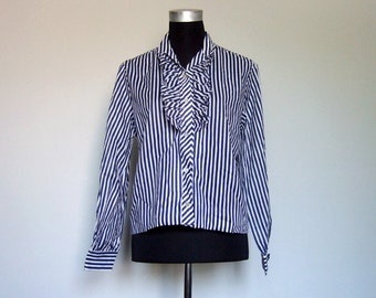 70s Striped Shirt Vintage Navy White Ruffle Top Button Up Long Sleeve Blouse Collared - Extra Large XL