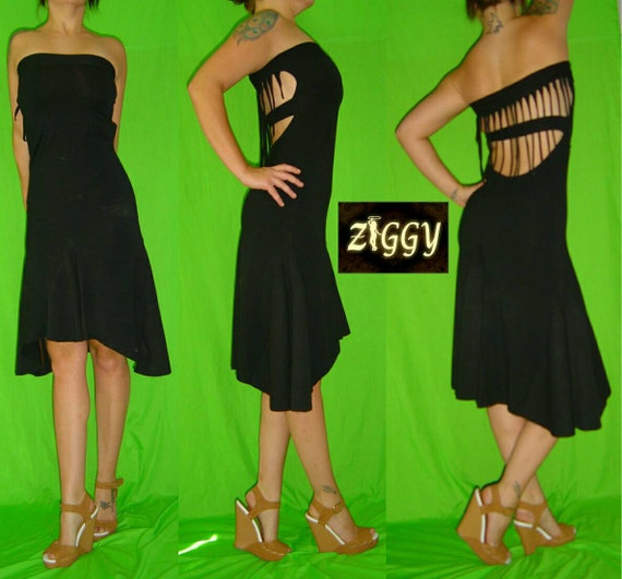 Strapless Fringe Back Dress