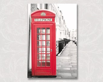 London Photo on Canvas, Red Phone Booth, Kensington and Chelsea, England Travel Art, Gallery Wrapped Canvas, Large Wall Art