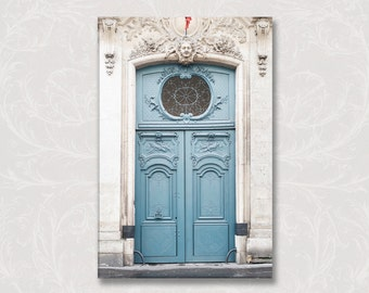 Paris Blue Door Photograph on Canvas, Porte Bleue Gallery Wrapped Canvas, Large Wall Art, French Home Decor
