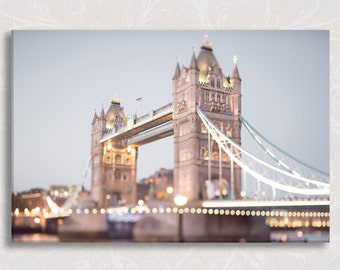 London Photograph on Canvas, Evening at Tower Bridge Photo on Canvas, Twinkle Lights, Large Wall Art, England Travel Photo
